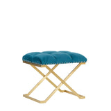 Aimee Azure Green Velvet Low Stool