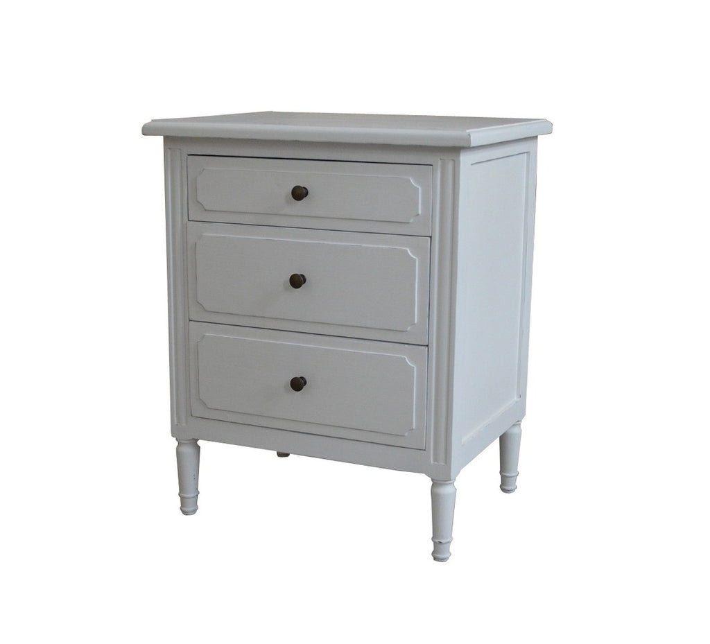 Large 3 Drawer Bedside Matt White