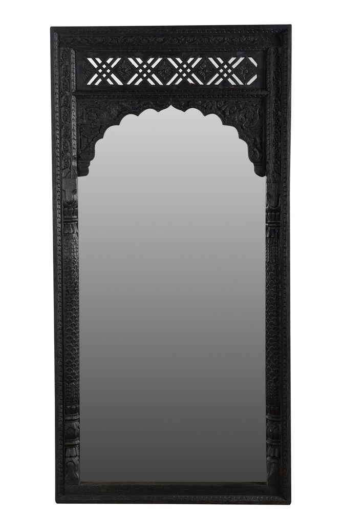 Marwah Carved Leaner Mirror Black Wash