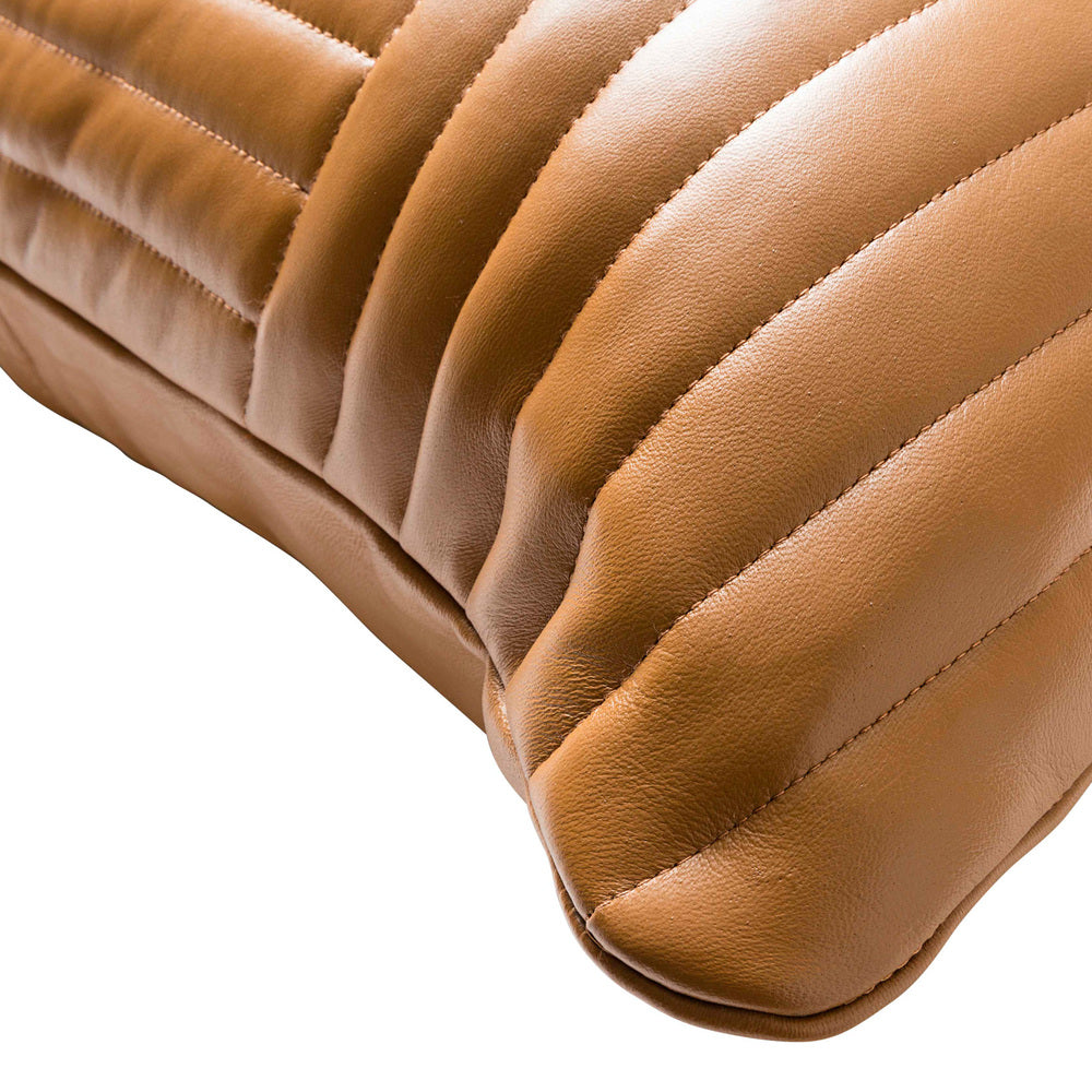 Quilted Leather Cushion Tan