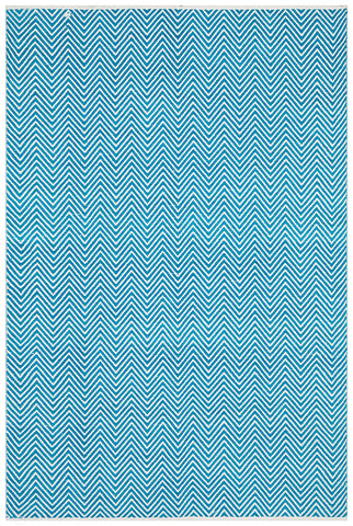 Villa Modern Herringbone Rug Turquoise and White