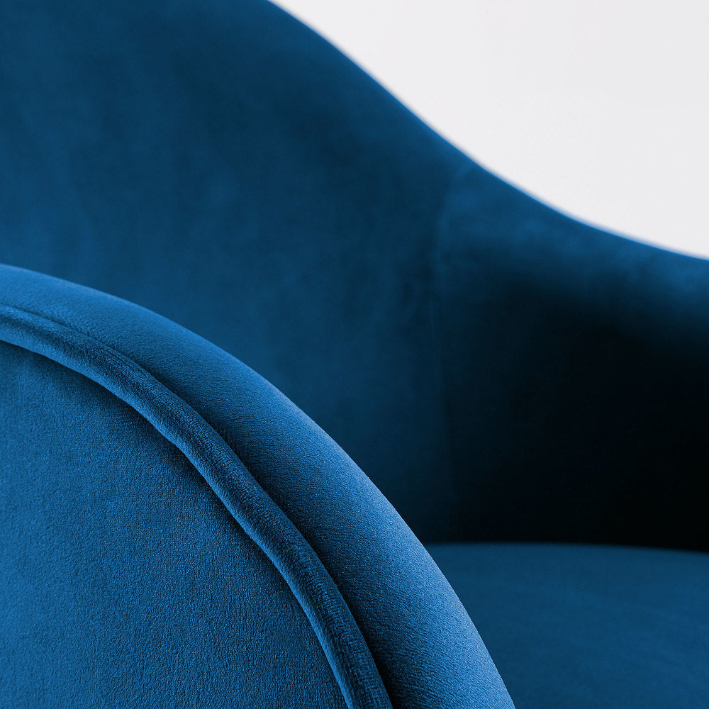 Lotus Armchair Blue Velvet