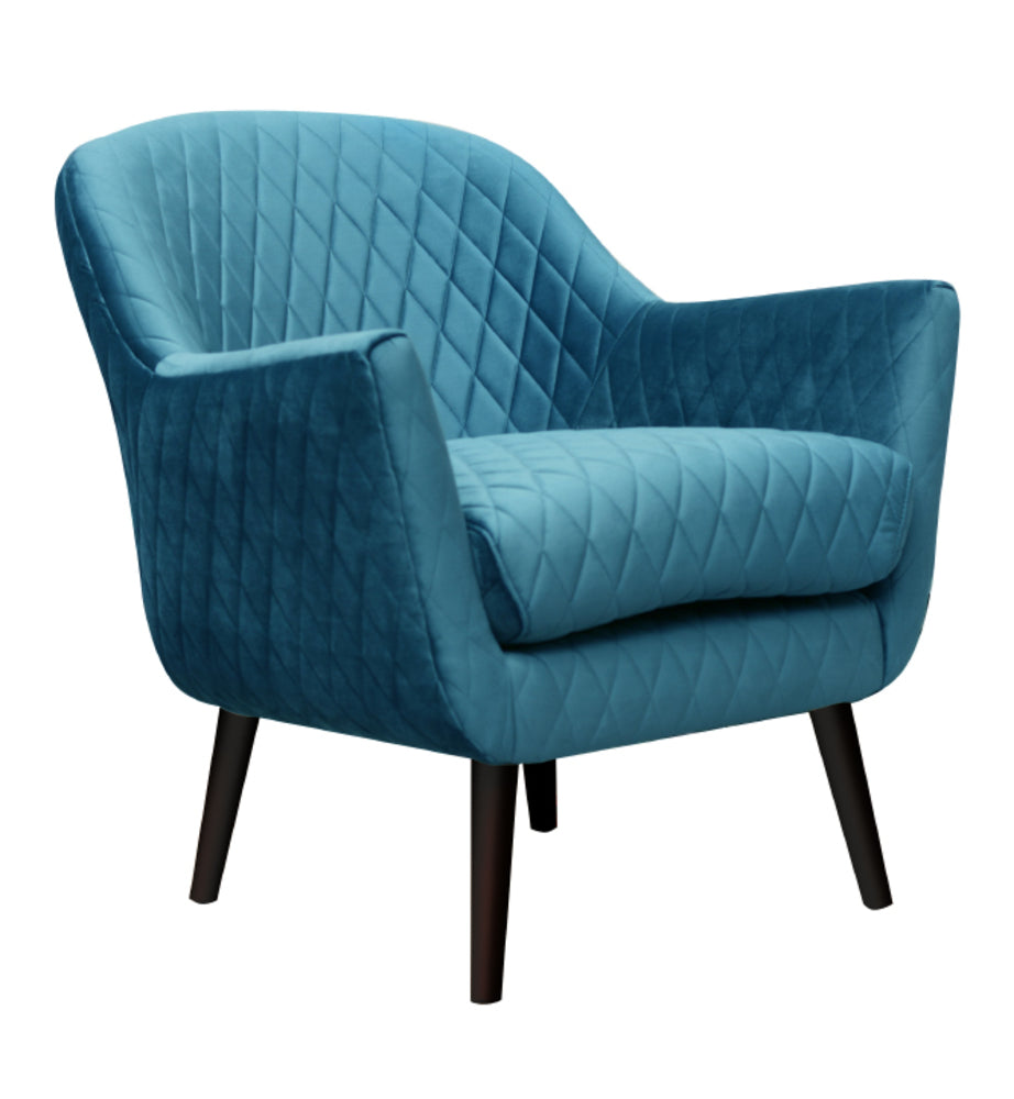 Club Chair Adriatic Blue with Black Legs