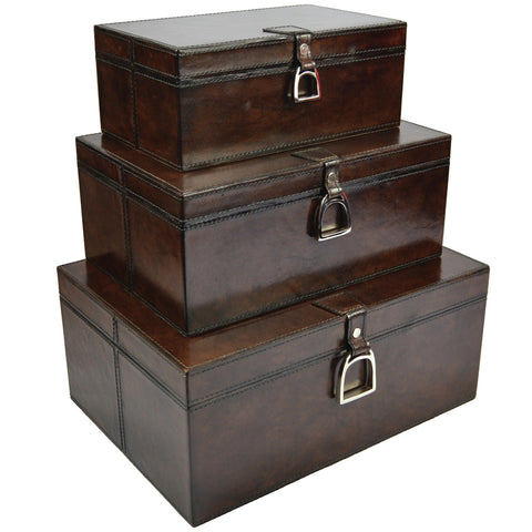 Franklin Set/3 Leather Boxes with Stirrups Dark