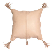 Arvika Leather Tassel Cushion Nude