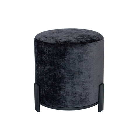 Paxton Ottoman/Low Stool Velo Charcoal with Black Base