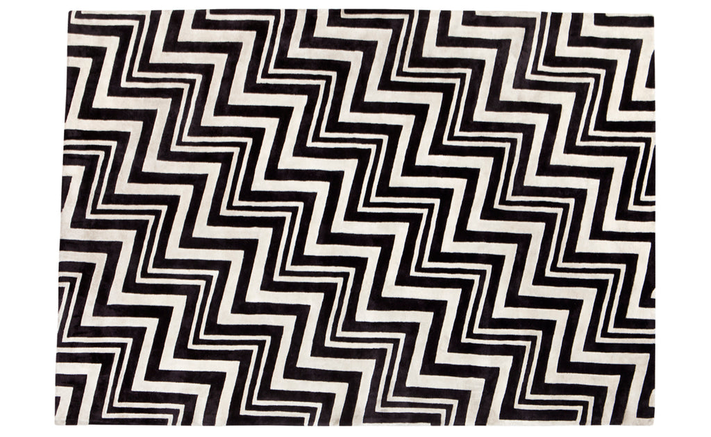 Chevron Rug Black and Ivory