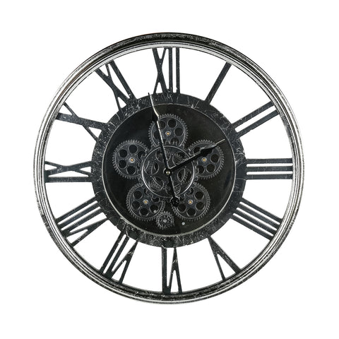 Antique Nickel Wall Clock Large