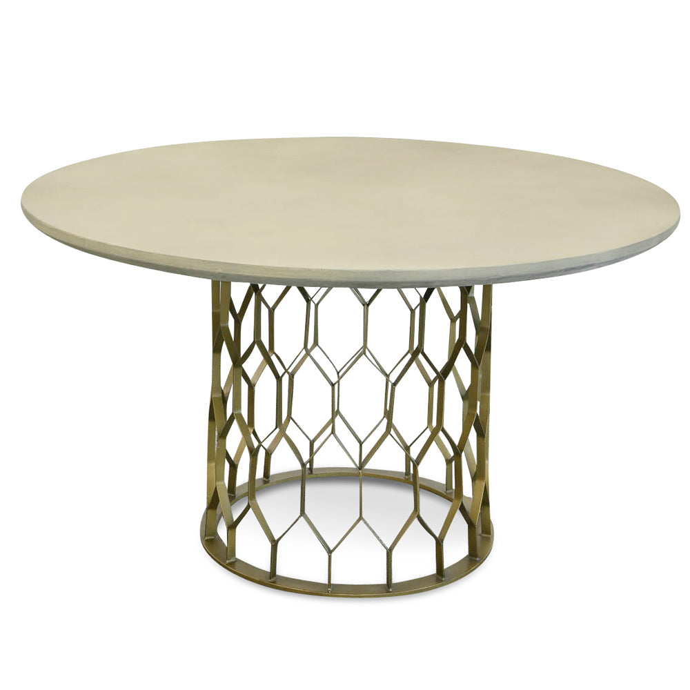Taylor Concrete Dining Table Grey and Brass
