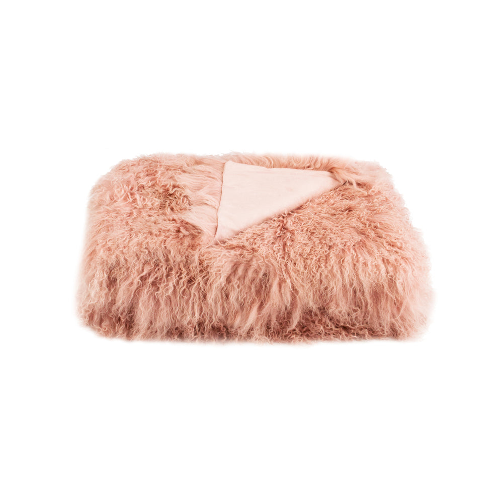 Pink Tibetan Fur Throw