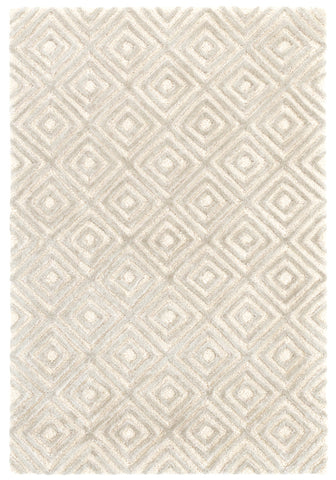 Cut Diamond Silver Wool and Viscose Rug