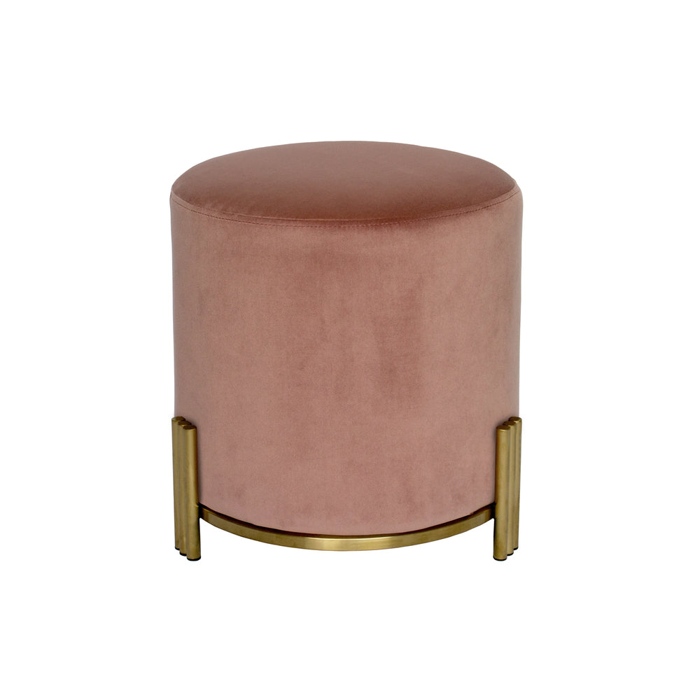 Paxton Ottoman/Low Stool Blush with Gold Base