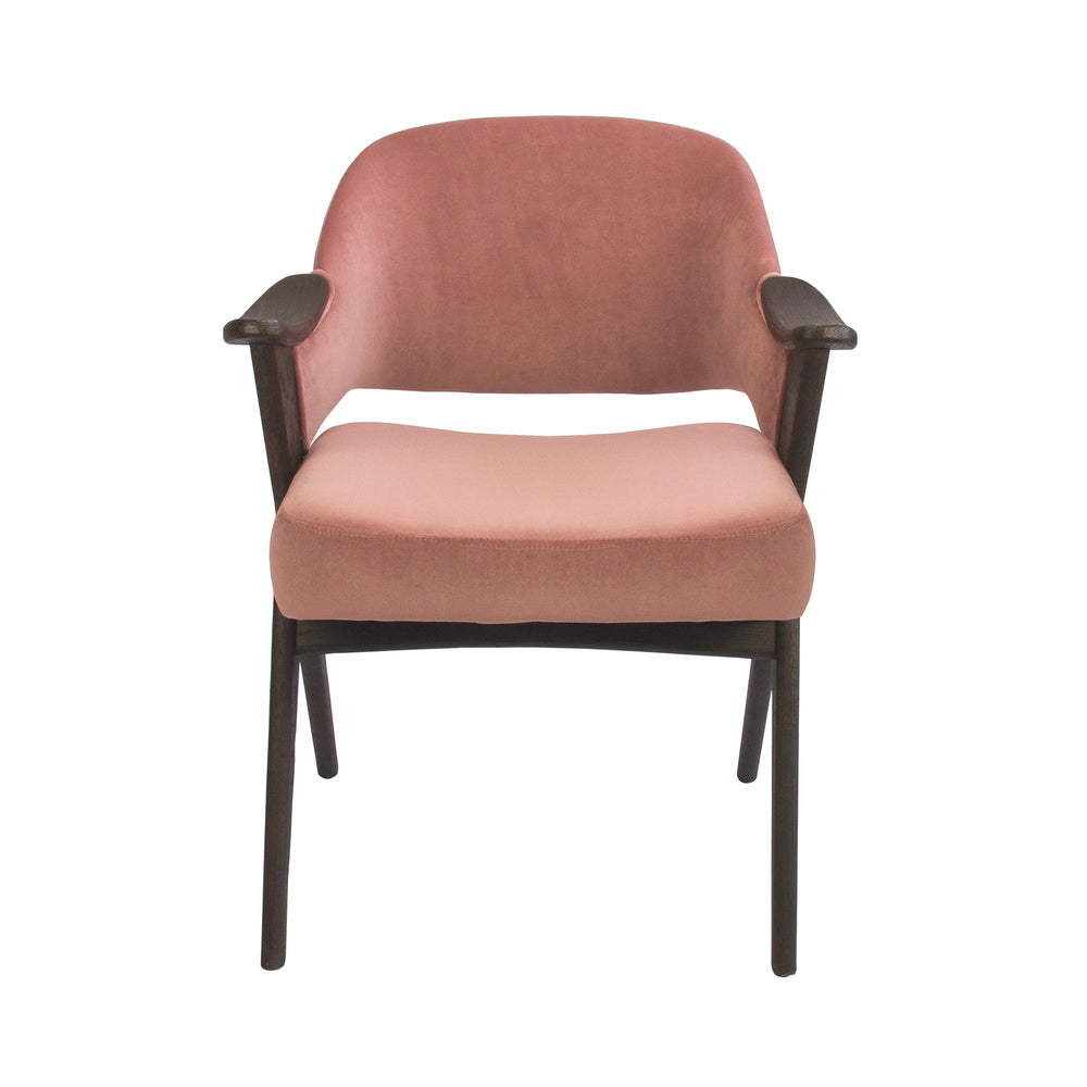 Vendela Arm Chair Blush Velvet with Charcoal Frame