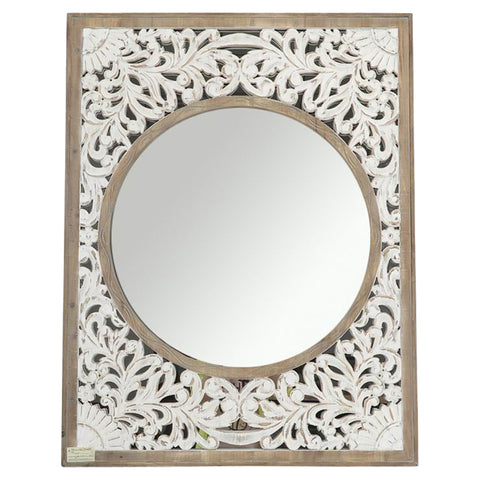 Carved French Leaner Mirror Silver