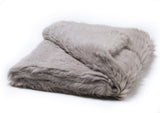 Knitted Rabbit Fur Throw Light Grey