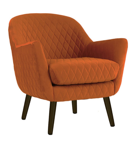 Velvet Ottoman Small Burnt Orange