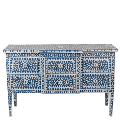 Evelyn Mother of Pearl 6 Drawer Chest Floral Navy Blue