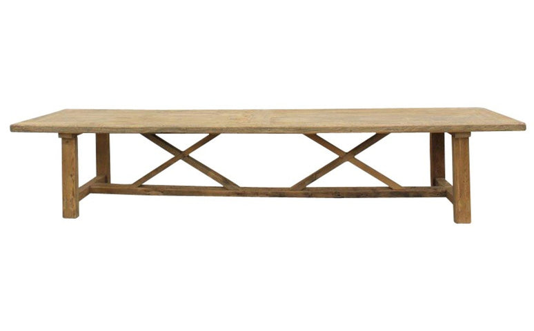 H Leg Dining Table Double Cross