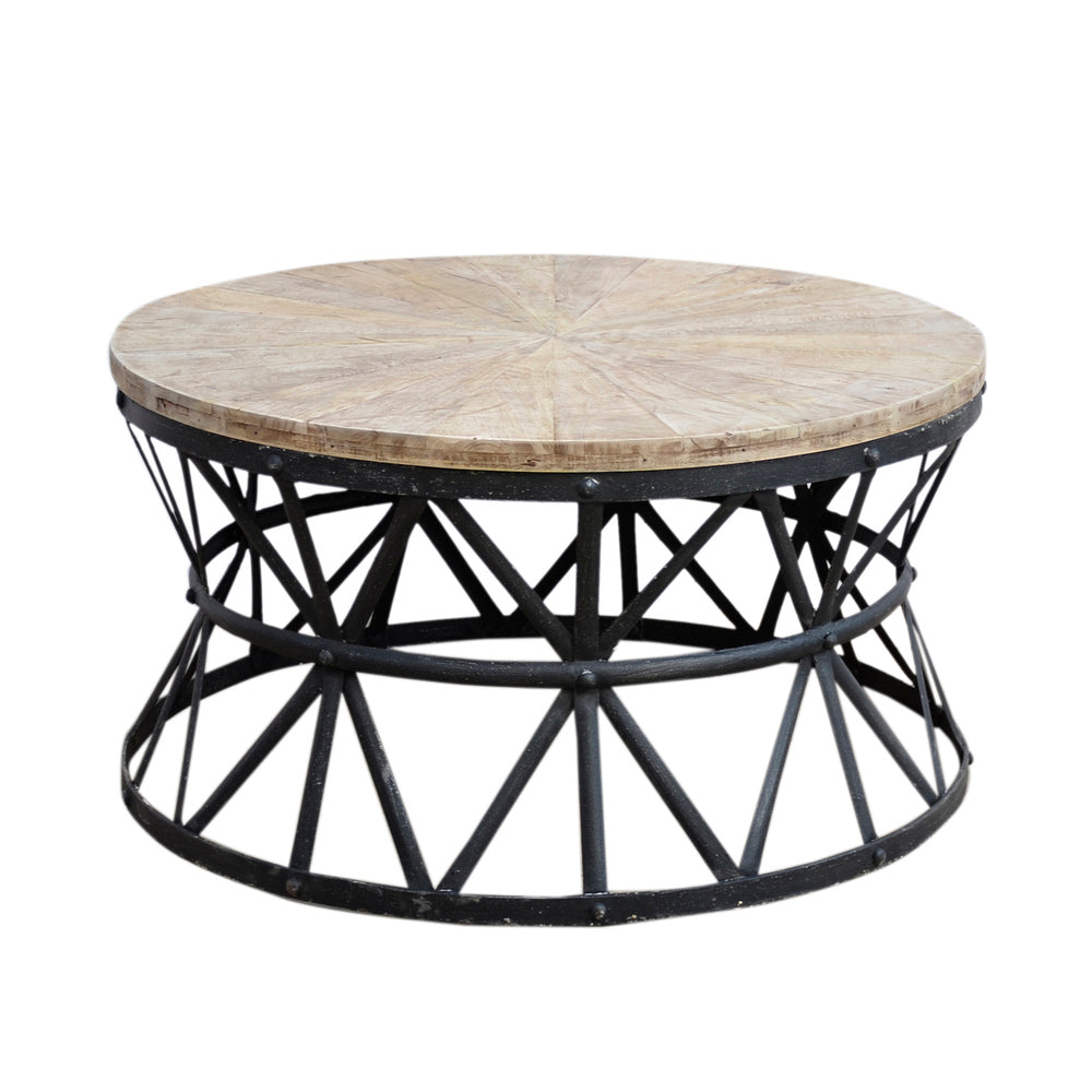 Round Coffee Table With Ottomans.Cast Iron Round Coffee Table