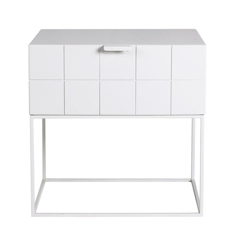 Trace Bedside Table White