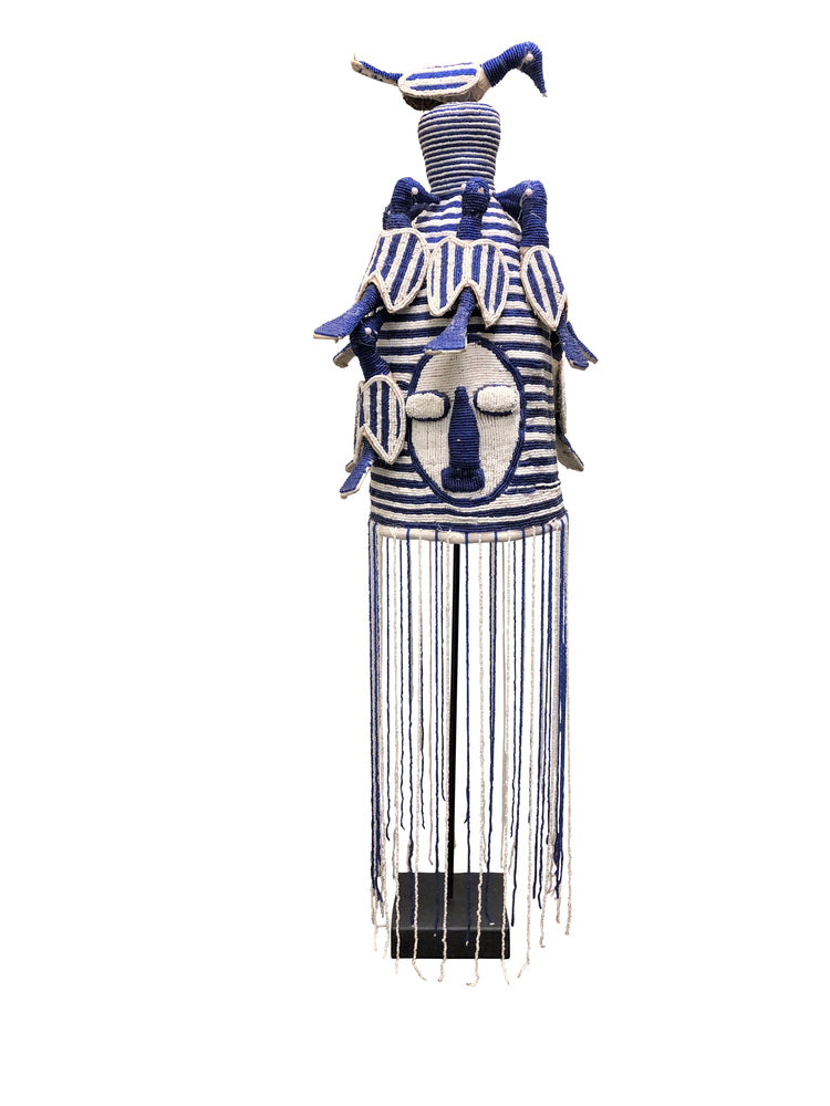 Yoruba Beaded Crown Blue and White