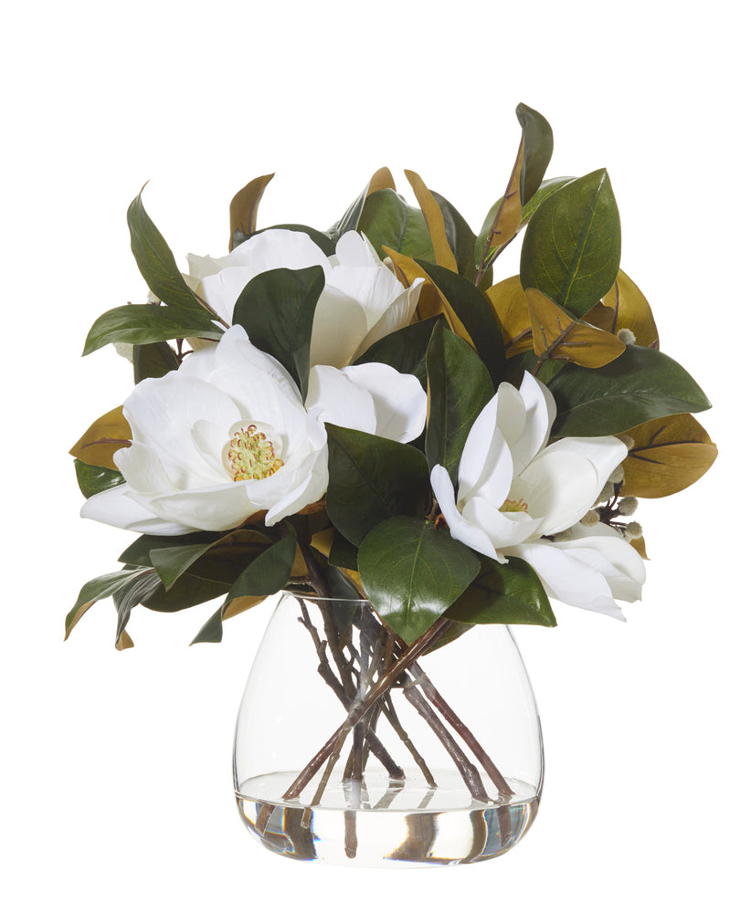 Magnolia Mix in Garden Vase White