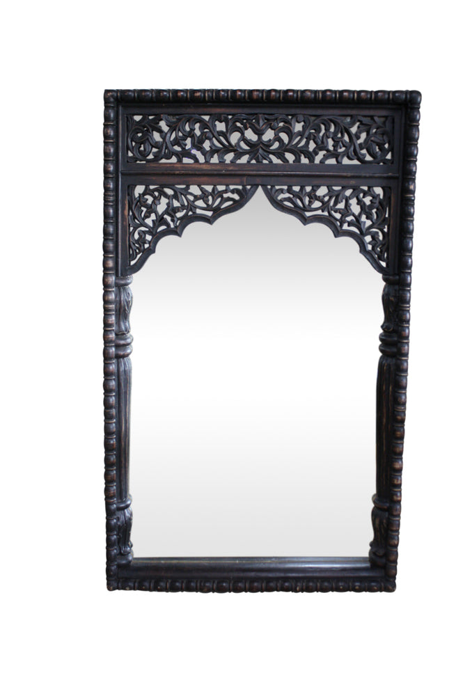 Exotic Hand Carved Mirror Rustic Black