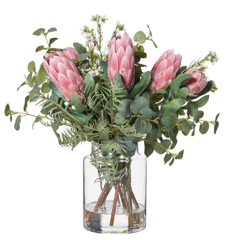 Protea Mix in Pail Vase Pink