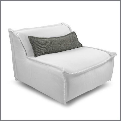 Leroy White Chair With Black & White Cushion