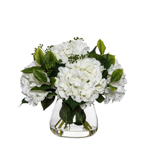Hydrangea Berry Mix in Garden Vase White Small