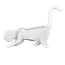 Geometric Cat Sculpture White