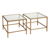 Martini Clear Glass Coffee Nesting Table Set/3 Antique Gold