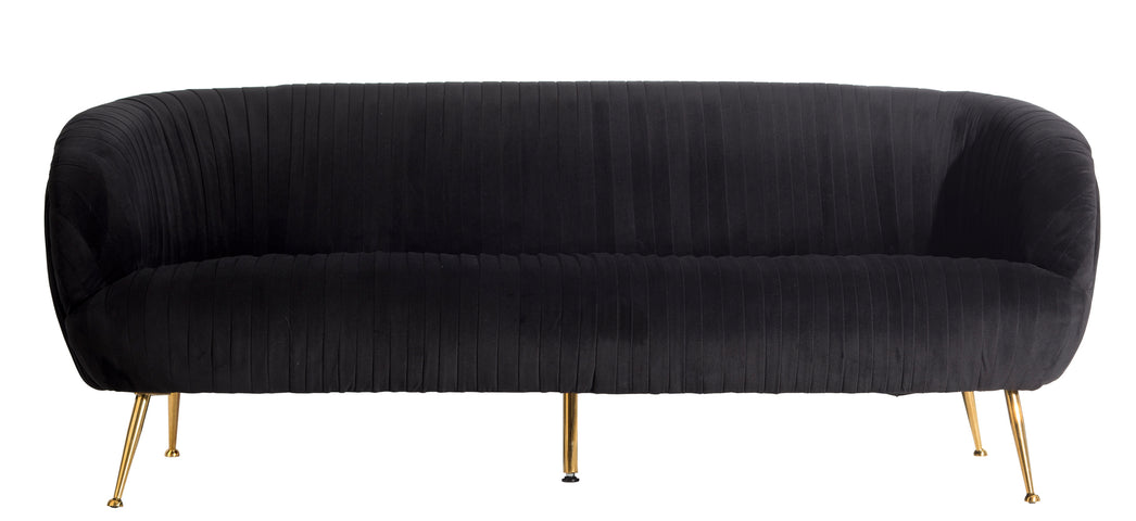 Perugia Velvet 3 Seater Sofa Black
