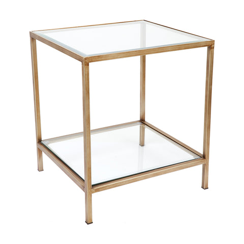 Martini Square Clear Glass Side Table Antique Gold