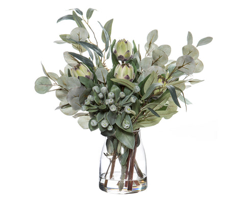 Dusty Miller Mix in Adina Vase Green