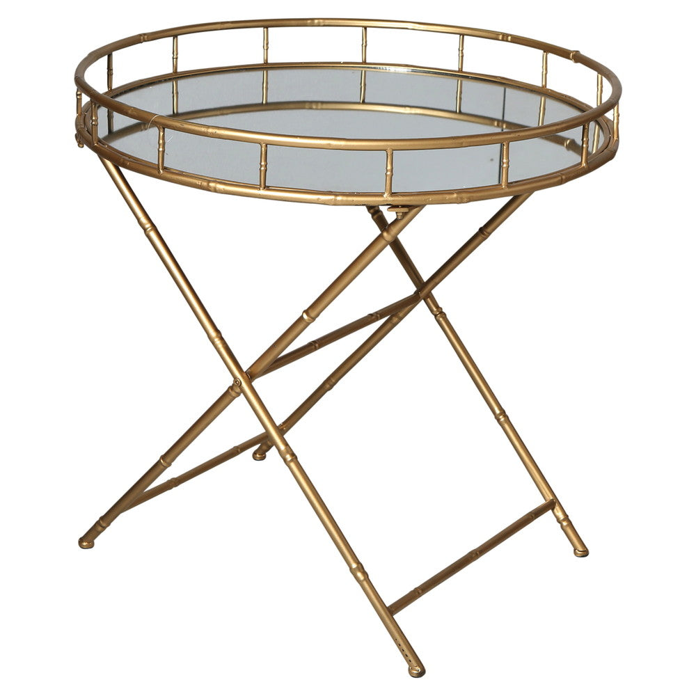Gold Round Mirror Tray Table
