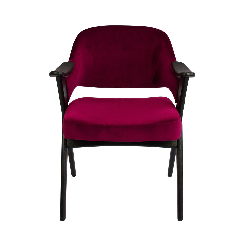 Vendela Arm Chair Marsala Velvet with Black Frame