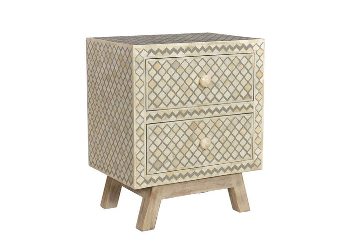Chokri Bone Inlay Bedside Table Grey