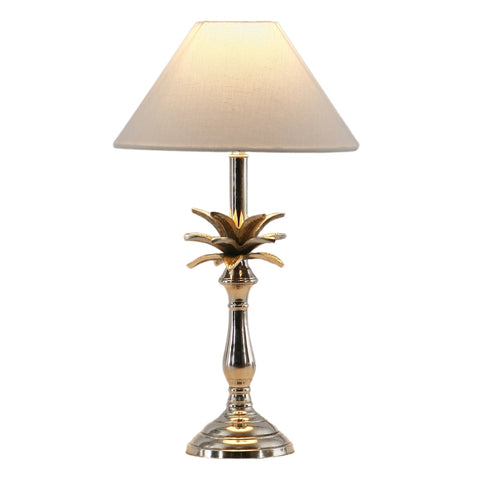 Small Nickel Pineapple Lamp with White Shade Pair