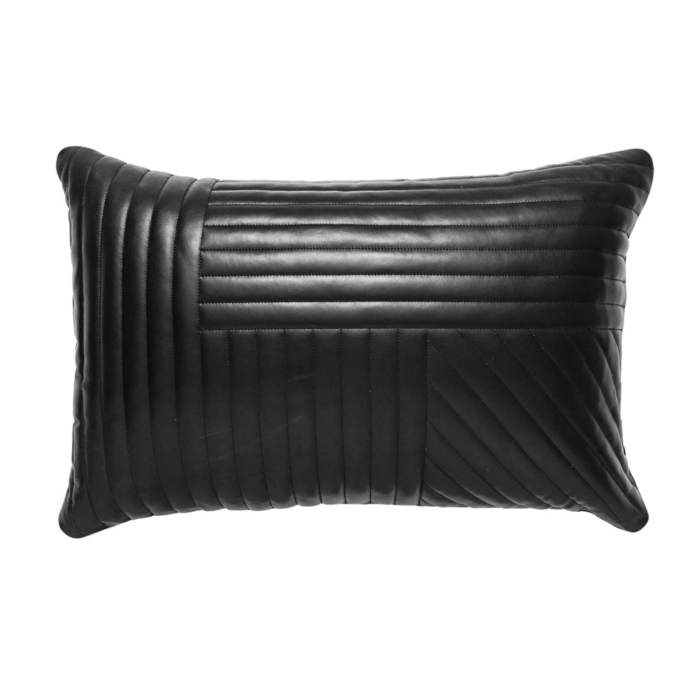 Quilted Leather Cushion Black