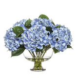 Hydrangea Mix in Dahlia Bowl Blue 40cmH
