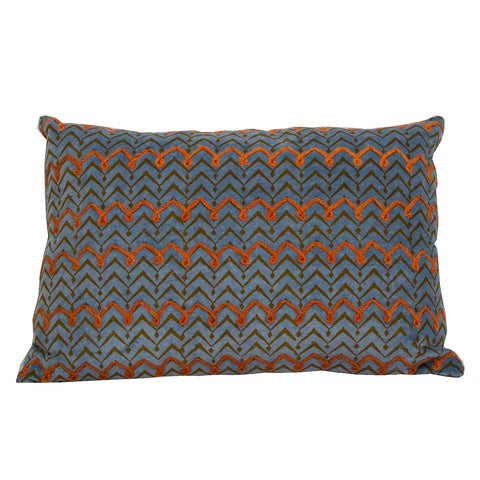 Salima Velvet Cushion Blue and Orange