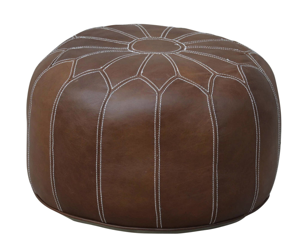 Moroccan Brown Leather Ottoman