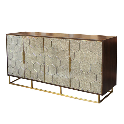 Wood and Metal 3 Drawer Sideboard