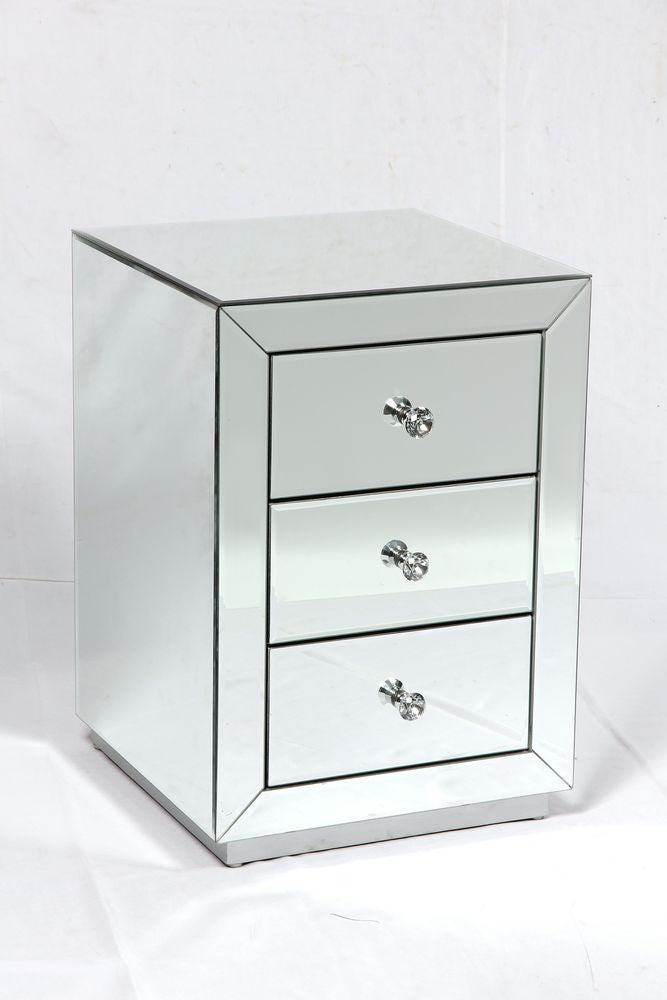 Dorset 3 Drawer Mirrored Bedside
