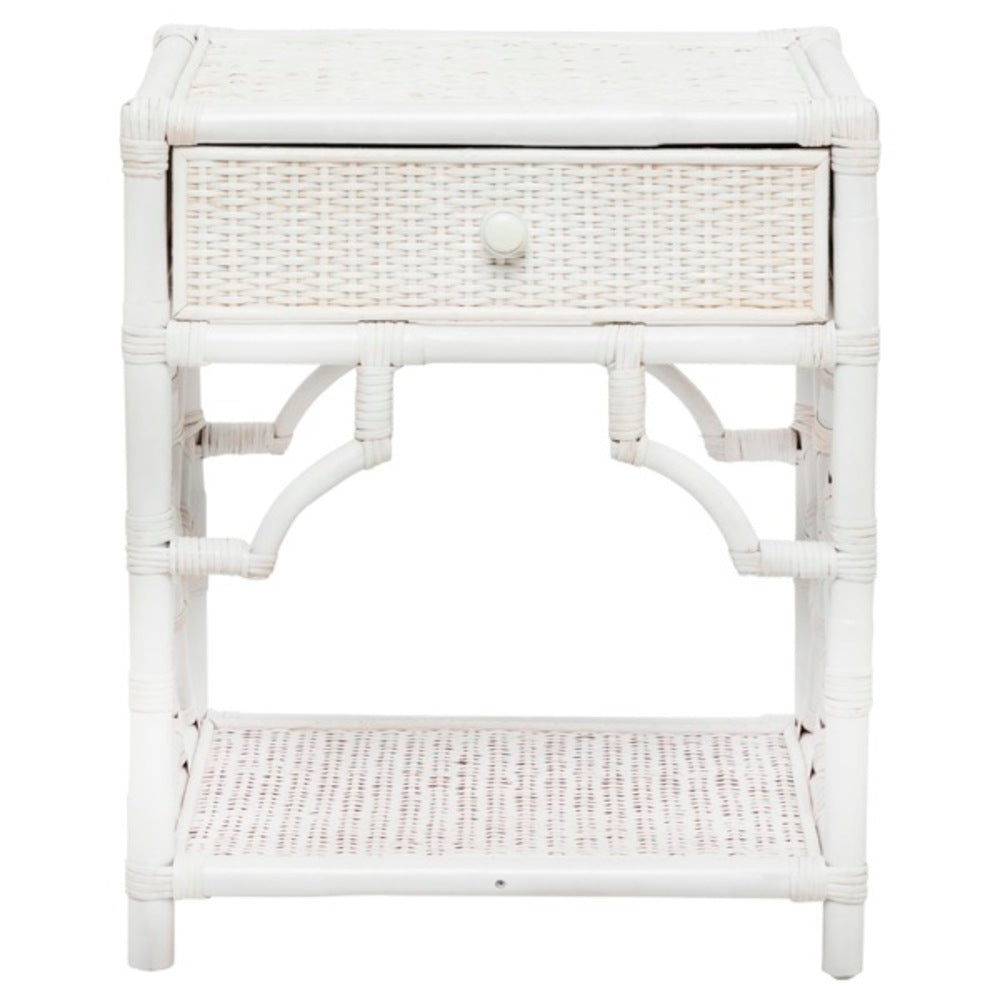 Jessie Rattan Bedside Table White