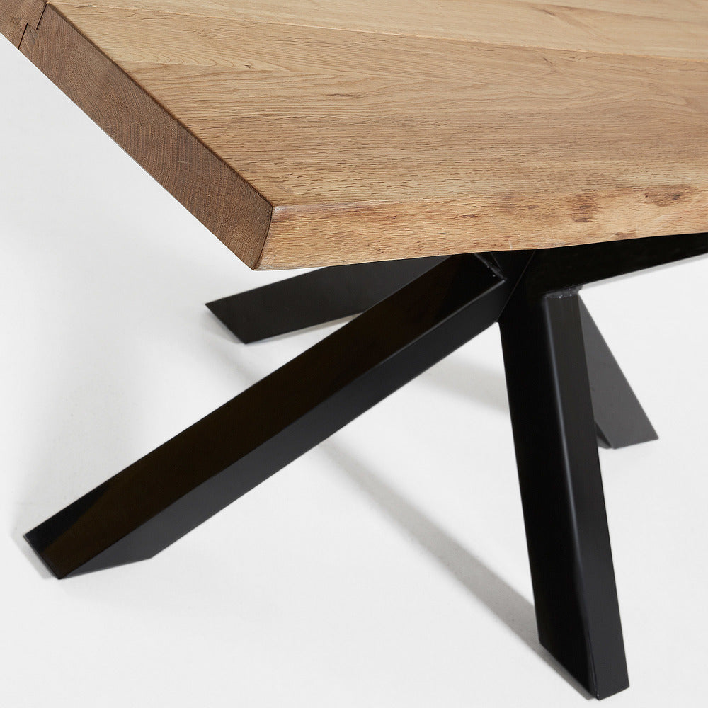 Masa Dining Table Black Legs with Natural Oak Top