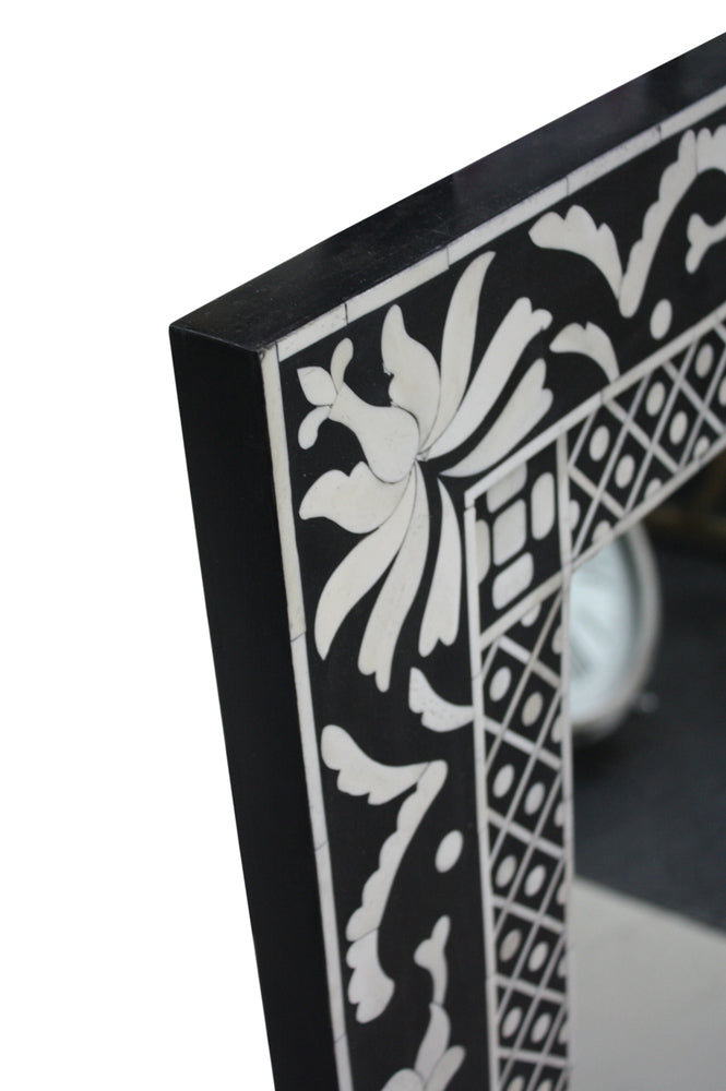 Bone Inlay Black and White Mirror