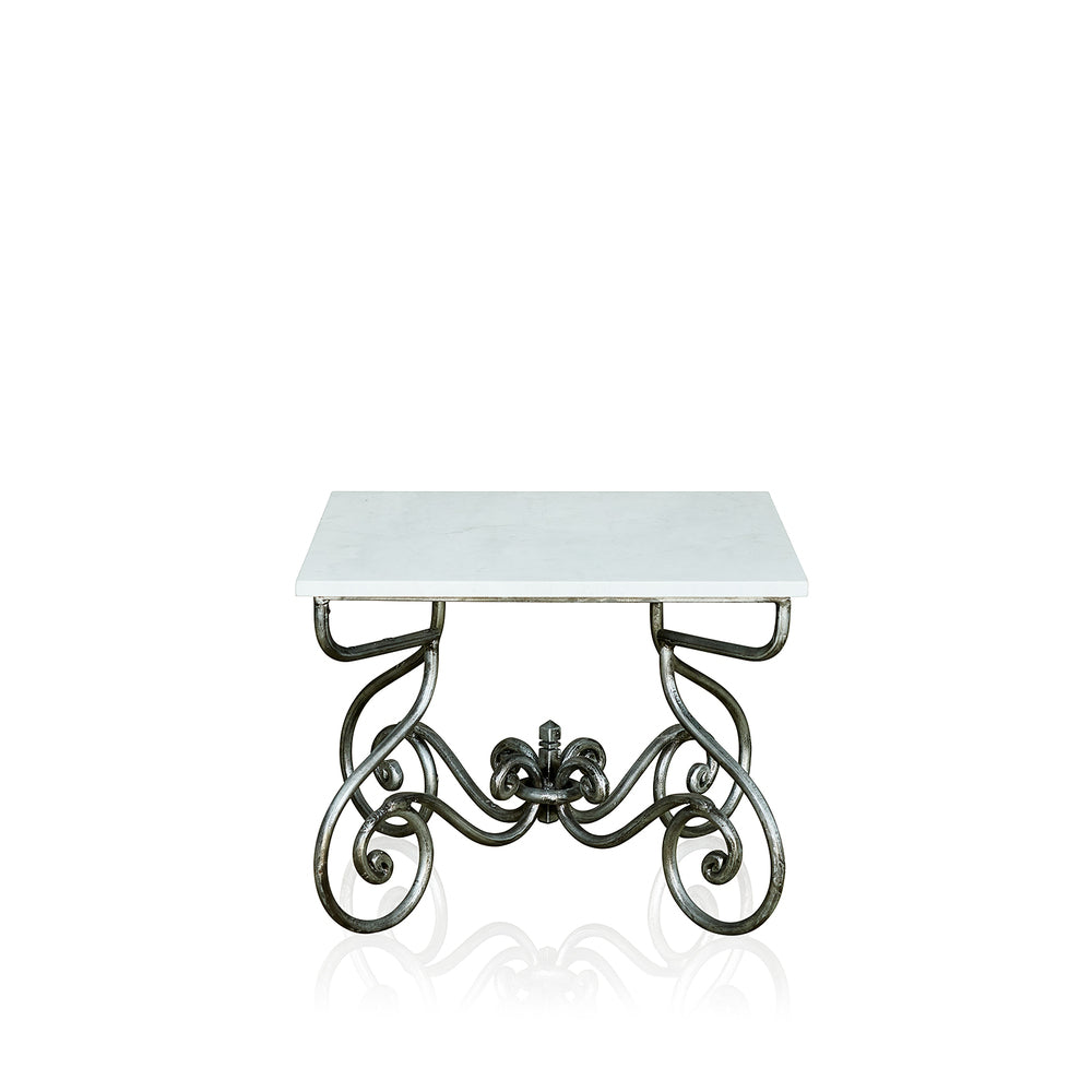 Paris Wrought Iron Lamp Table With Marble Top