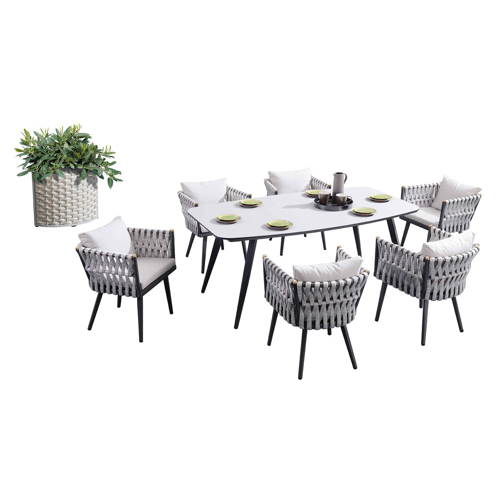 Grayton 7 Piece Dining Setting Charcoal